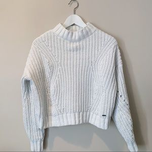 Chunky White Hollister Mock Neck Sweater